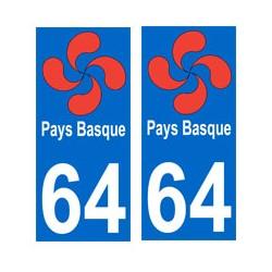 autocollant croix basque 64...